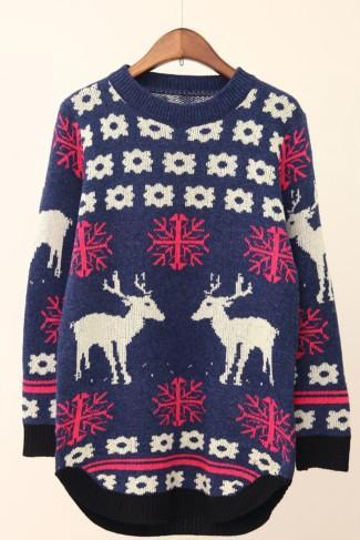 Women 'S Fashion Lovely Students Deer Long Sweater/Pullover