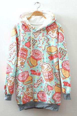 Cream Dessert Cartoon Fleece Hoodie