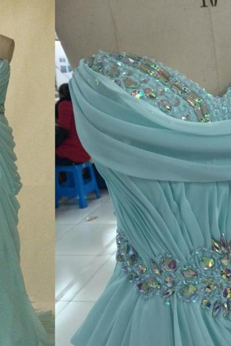 Elegant Blue Long Chiffon Sweetheart Prom Dresses 2016, Prom Dresses 2016, Prom Gown, Custom-Made Prom Dress, Evening Gown