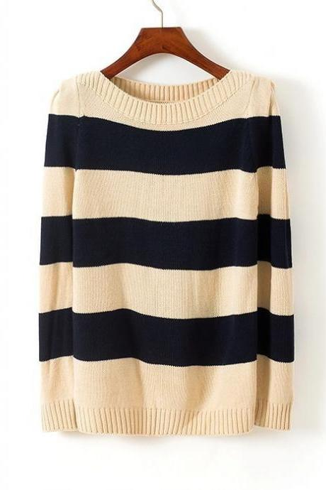 Sweaters 2014 Women Fashion Autumn Winter Casual Navy Wind Stripe Round Neck Long-Sleeve Sweater
