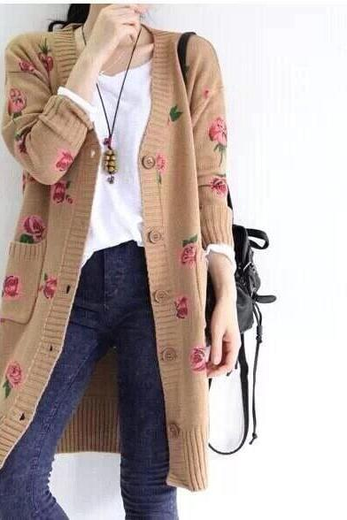 Woman's Sweater European-Style Fashion Rose Printing Long Sleeve Autumn Knit Cardigans Long Sweater Coat