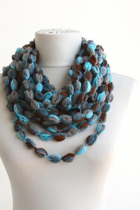 Crochet bubble scarf necklace blue chain scarf infinity scarf for women