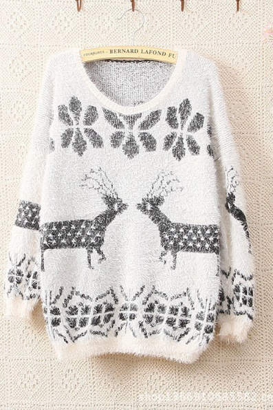 Women T-shirt Long Sleeve Knit Sweater Set Of Deer