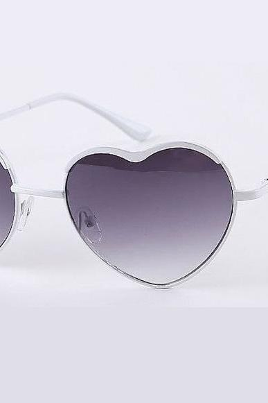 Heart shape white frame woman sunglasses