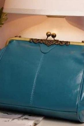 Vintage blue tote woman handbag