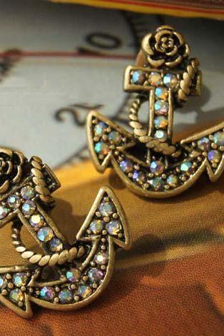 Retro Style Anchor Rhinestone Embellished Earrings