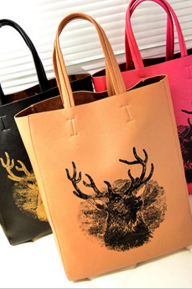 Individual women deer painting graffiti portable Shoulder Handbag