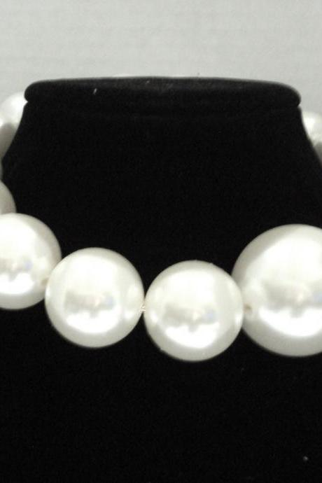Big Pearl Collar Necklace, Choker Bubble Pearl Statement Necklace
