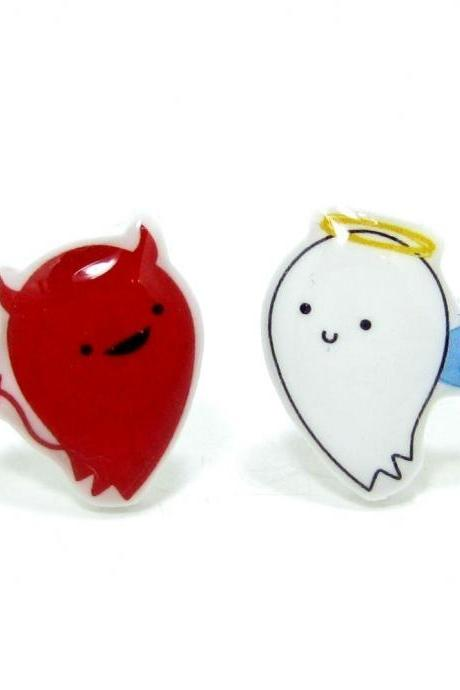 Good vs. Evil Earrings - Red White Sterling Silver Posts Studs Kawaii Cute
