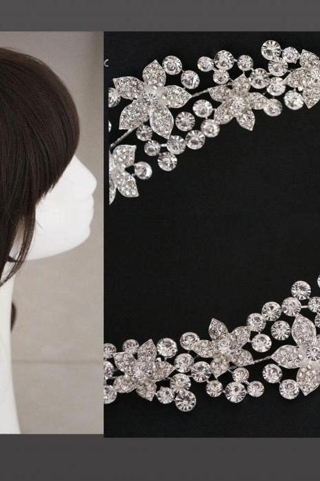 NEW RHINESTONE CRYSTAL HAIR APPLIQUE TIARA BRIDAL WEDDING BRIDES FLOWER