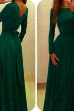 Sexy O Neck Long Sleeves V-Shape Backless Green Ankle Length Dress