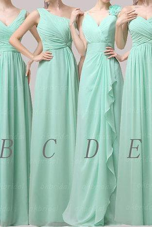 Long bridesmaid dresses, chiffon bridesmaid dress, cheap bridesmaid dress, mint bridesmaid dress, mismatched bridesmaid dresses, CM082