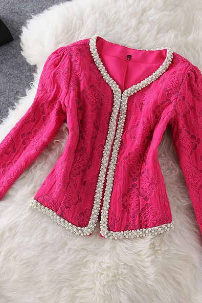 Women's fashion temperament edge stitch beads jacquard splice short coat