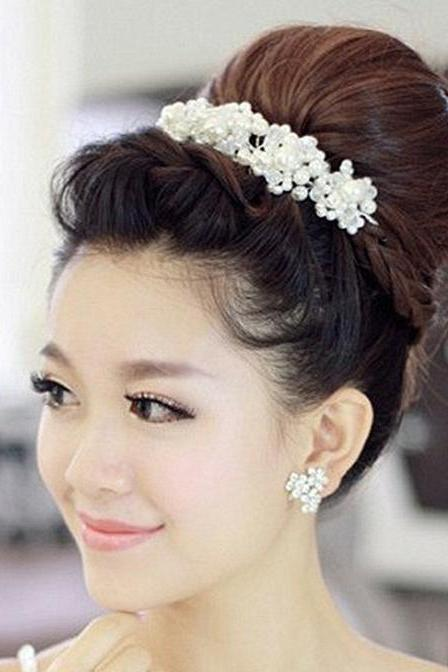 NEW FAUX PEARL BRIDAL WEDDING BRIDES RHINESTONE FLOWER WIRE HAIR TIARA