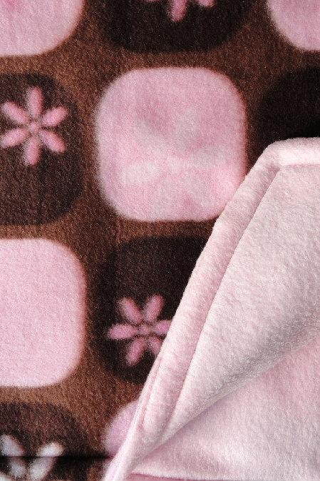 Pink / Brown Baby Blanket Girls Fleece Toddler Handmade 'Chocolate Silk'