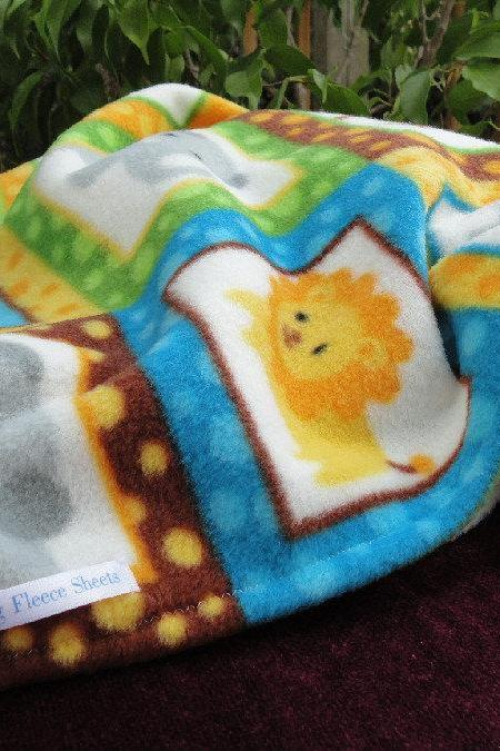 Handmade Fleece Baby Blanket - Zoo Animals Print / Safari Theme (34x34 inches)
