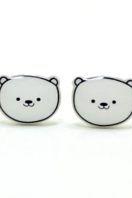Polar Bear Earrings - Sterling Silver Posts Studs Kawaii Cute