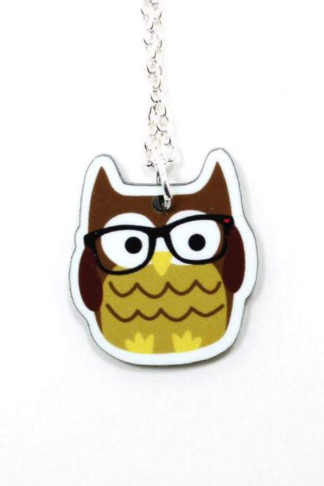 Nerdy Owl Acrylic Charm Necklace on Silver Plated Chain - Brown Kawaii Cute