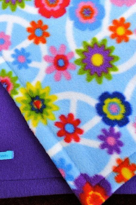 Toddler / Baby Blanket 'Purple Peace' Fleece BUG HUG for Girls