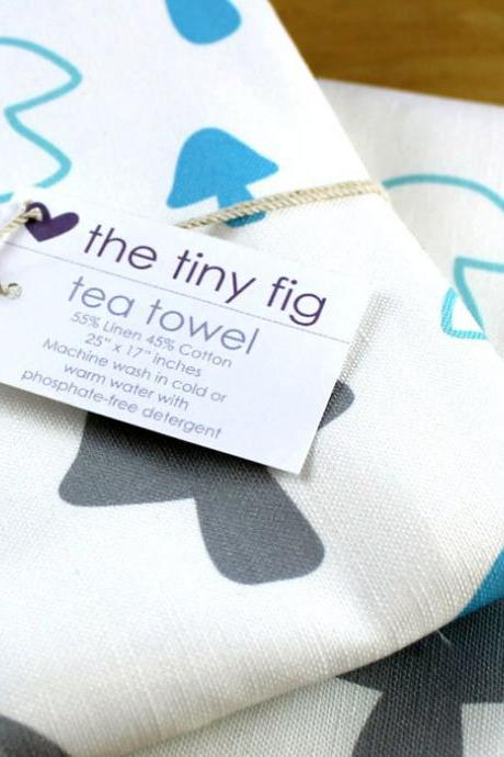 Teal and Grey Mushroom Tea Towel