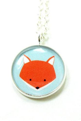Fox Necklace - Blue Orange Kawaii Cute Silver Plated 17 inch