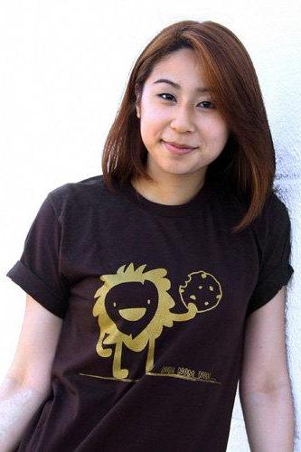 Nom Nom Nom Tshirt - Brown American Apparel Unisex Mens Womens Crew Neck Tee