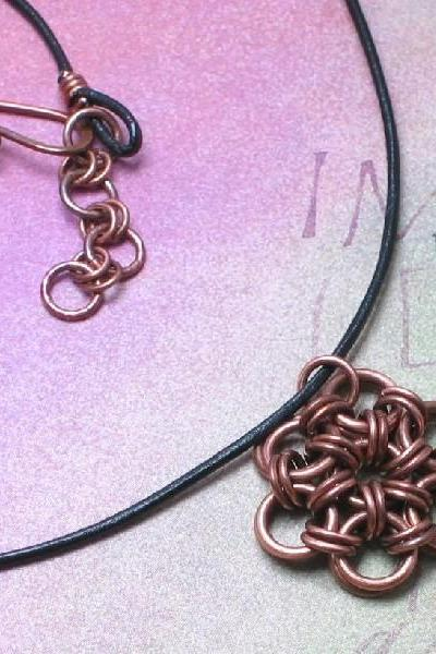 Copper Necklace, Chain Mail Japanese Flower Pendant, Black Leather Cord, Oxidized Chain Maille Metal Jewlery