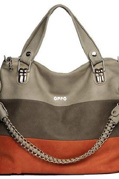 Tote chain strap PU leather woman handbag