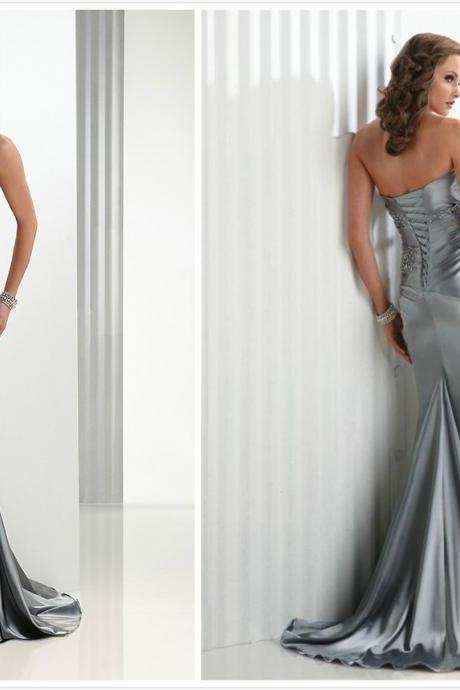 bridesmaids dress,evening dress,silver evening dress,lace up back dress, women dress ,sweetheart prom dress