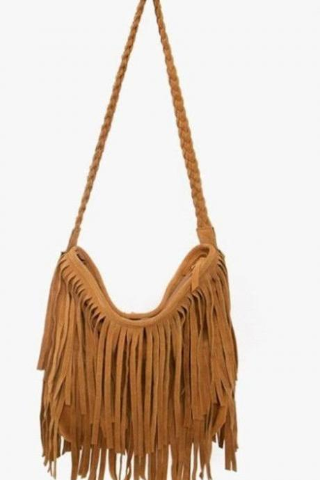 Fancy tassels shoulder brown woman handbag