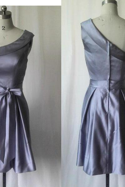 Gray prom dress,One shoulder Short prom dress,Grey prom dress,Fashion prom dress, Simple prom dress,Gray/Grey Bridesmaid dress,Short Satin Bridesmaid dress,QP5573