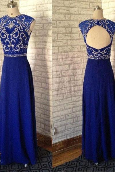 Royal Blue Cap Sleeves Open Back Emboridery Beaded Long Chiffon Prom Dress.Fashion Elegant Evening Dress,Long Party dress