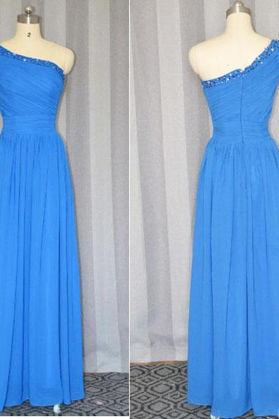 Blue Bridesmaid dress,One Shoulder Long Chiffon Cheap bridesmaid dress 2015,long party dress ,formal Royal Blue prom dress