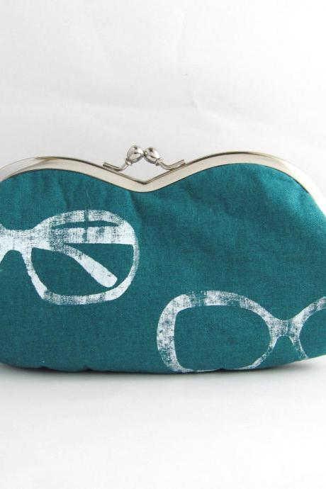 sunglass / eyeglasses case -glasses on teal linen - snap case- frame purse