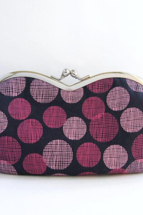 sunglass / eyeglasses case - dots on indigo