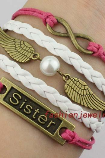 Infinity Bracelet, Sister Bracelet, Golden Snitch, wings with pearl bracelet,Friendship gift,Christmas Gift