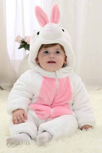 White Rabbit Winter Type Unisex Playsuits Romper Toddlers jumpsuit, Baby Boy or Girl, baby animal onesie,1st Birthday,Baby Clothes ,baby winter onesie,Babywear,Christmas Baby,cute baby onesie,1st Birthday Owl Bodysuit,Funny Baby Clothes