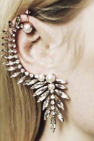 Edgy Crystals Ear Cuff Earrings