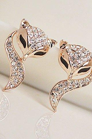 Cute Rhinestone Fox Earrings