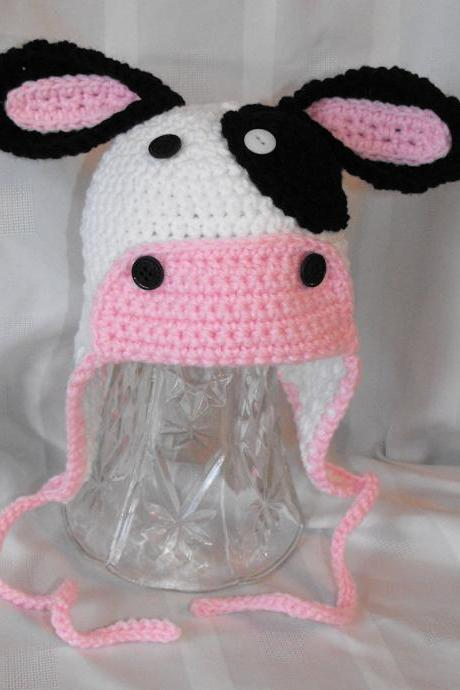 Girl's Cow Earflap Hat with Ties Custom Size