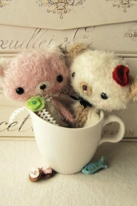 Mohair Animals - Bunny, Bear, Puppy and Kitten - pdf Pattern