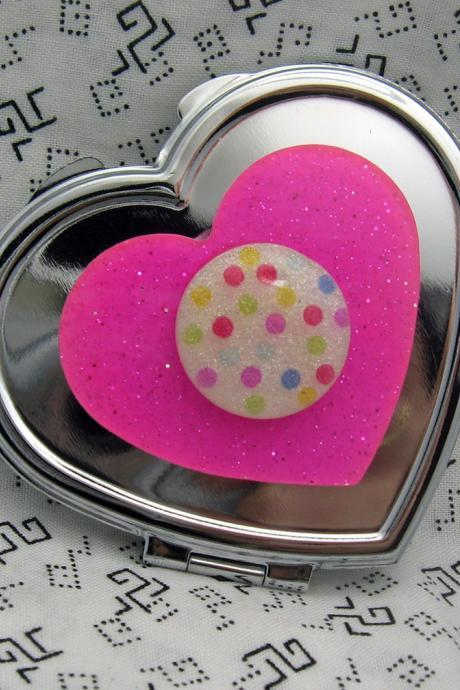 Hot Pink Heart and Polka Dots Compact Mirror