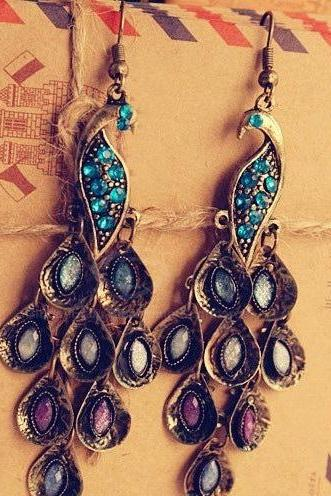 Gorgeous Pair of Peacock Earrings