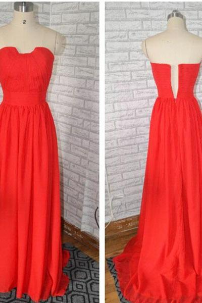 Red Chiffon Ruched Strapless Floor Length A-Line Bridesmaid Dress, Formal Dress