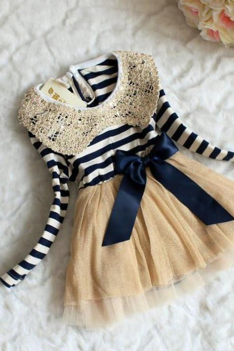 6-9 Months Infant Dress Stripe Dresses Navy Blue for Girls Sailor Girls Dress