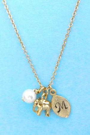Initial, Elephant, Personalized, Gold, Elephant, Necklace