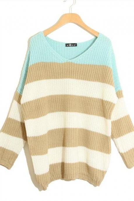 Striped Knitted Long Sleeve Sweater, Pullover