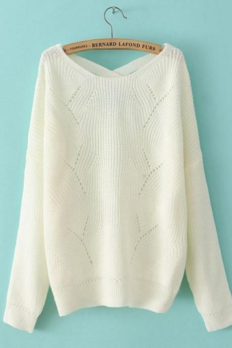 White Knitted Bateau Neck Sweater Featuring Cuffed Hem