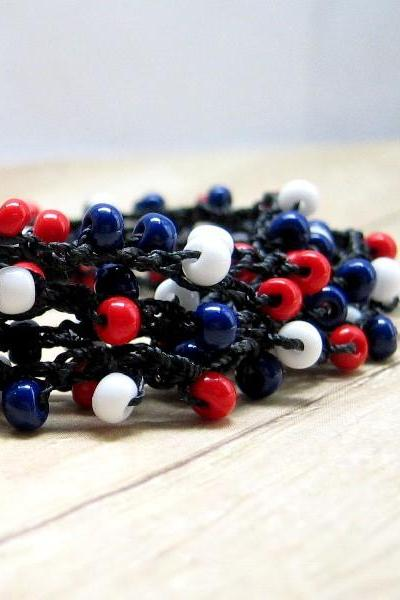 Boho Style Crochet Wrap Bracelet, Red, White, Blue, Black Nylon Cord, Necklace, Anklet, Summer Jewelry, Patriotic, USA