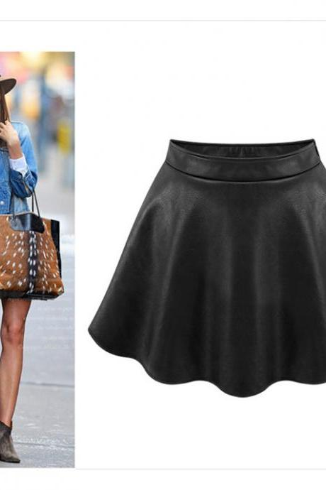 Faux Leather Soft PU Plus Size Skirt
